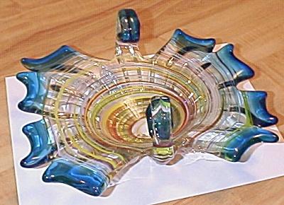 Large 10 Inch Multi-colored Murano Glass, Italian Art Glass Basket (Image1)