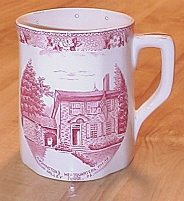 Souvenir China Mug Washington's Headquarters Valley Forge Pa Adams