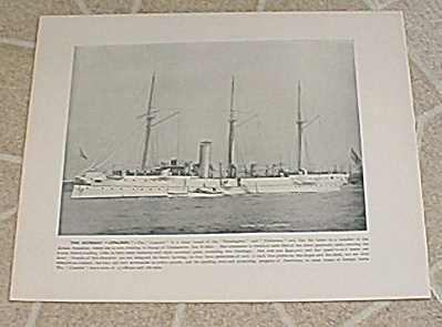 1898 Antique U.S. Navy Ship Print, USS Concord, Drill Machine Guns (Image1)