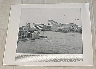1898 U.S. Naval Ship Print, USS Richmond, League Island Navy Yard (Image1)