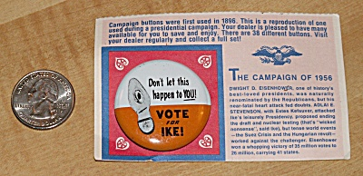 Reproduction 1956 Eisenhower Presidential Election Campaign Pin (Image1)