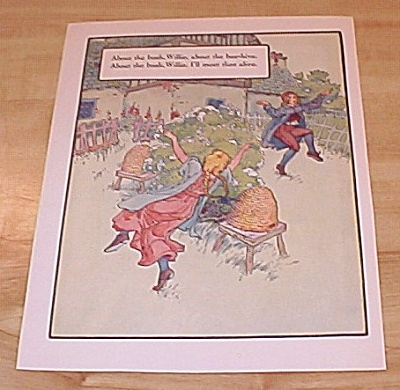 Bush & Bee Hive, Little Tommy Tittlemouse 1915 Mother Goose Print