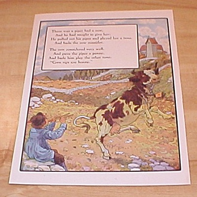 Piper And Cow, Crooked Man 1915 Mother Goose Book Print Volland Ed.