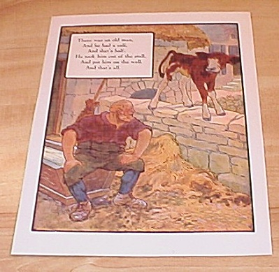 Calf and Wall & Man and Robbers 1915 Mother Goose Book Print Volland (Image1)