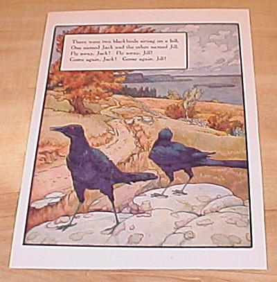 Two Blackbirds & Cross Patch 1915 Mother Goose Book Print Volland Ed