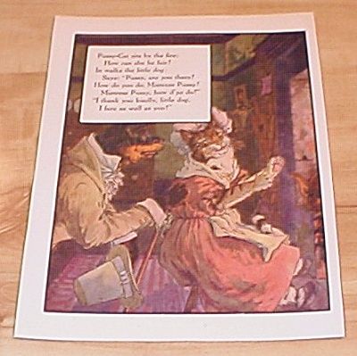 Pussy-Cat & Bow Wow Wow 1915 Mother Goose Book Print Volland Edition (Image1)