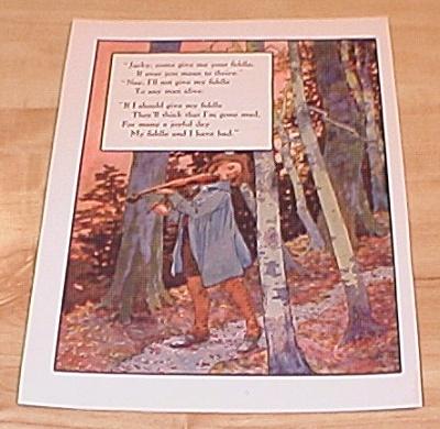 Jacky Fiddle & King Arthur 1915 Mother Goose Book Print Volland Ed. (Image1)