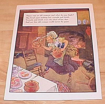 Old Woman Victuals & News of Day 1915 Mother Goose Book Print Volland (Image1)