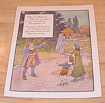 Willie Boy & Three Children 1915 Mother Goose Book Print Volland Ed