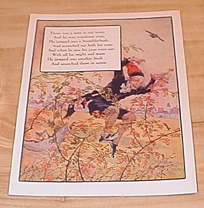 Bramble Bush & Bells 1915 Mother Goose Antique Book Print Volland Ed (Image1)