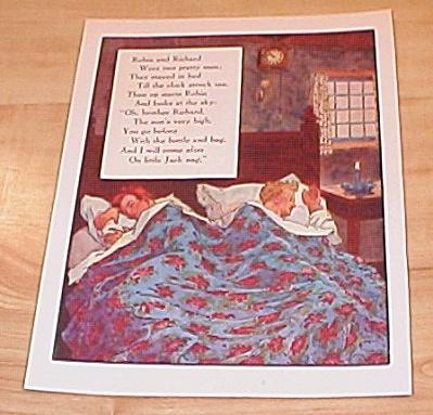 Robin & Richard, Two Gray Kits 1915 Mother Goose Book Print Volland (Image1)