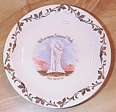 Enco Souvenir China Butter Pat Yellowstone National Park Old Faithful