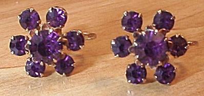 Coro Pair Vintage Signed Amethyst Rhinestone Screw-back Earrings (Image1)