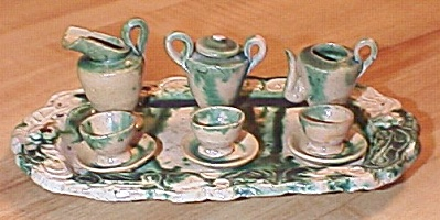 Old 10 Piece Majolica Pottery Child Dollhouse Miniature Tea Set
