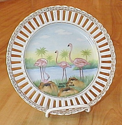 Occupied Japan Souvenir China Miami, Florida Plate with Flamingos (Image1)