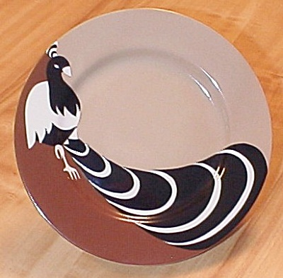 Lovely 1979 Fitz and Floyd Deco Peacock Dessert Plates (Image1)