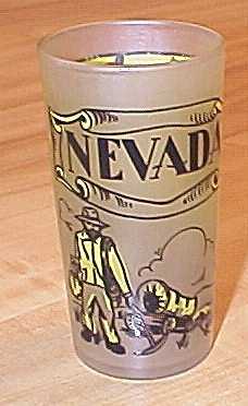 1950s Souvenir State Drinking Glass Nevada B