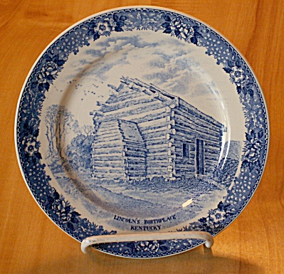 Souvenir China Adams Jonroth Lincoln Birthplace Plate, Hodgenville Ky