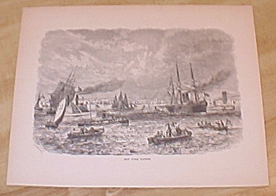 Antique 1885 Book Print, New York City Harbor & Elevated Railroad
