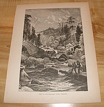 Antique 1885 Book Print, VT Missisquoi River, MA Mt. Mansfield (Image1)