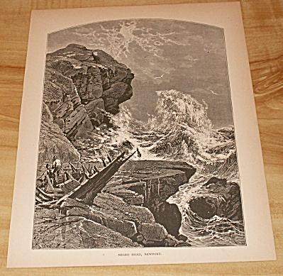 Antique 1885 Book Print, Negro Head Rock, Newport, Rhode Island (Image1)