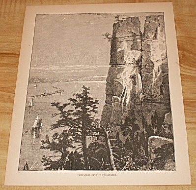 Antique 1885 Book Print, Pinnacles Of The Palisades, New York
