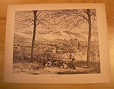 Antique 1885 Book Print, View of Salt Lake City, Utah  (Image1)