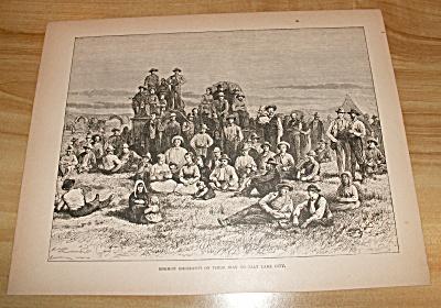 1885 Book Print, Mormon Emigrants on their way to Salt Lake City, UT  (Image1)