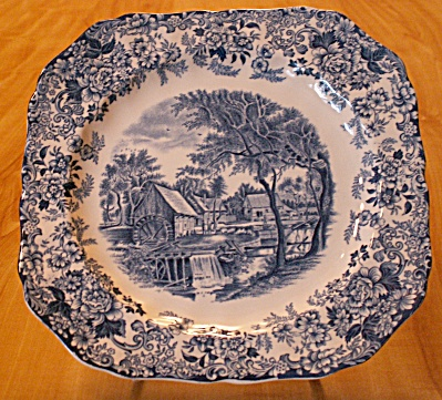 Vintage Johnson Brothers Mill Stream Salad Plates Blue & White Square