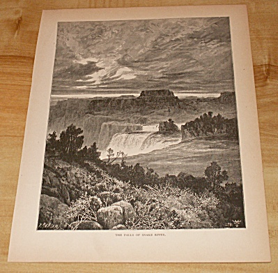 Antique 1885 Book Print, Idaho, Snake River Shoshone Falls Waterfalls (Image1)