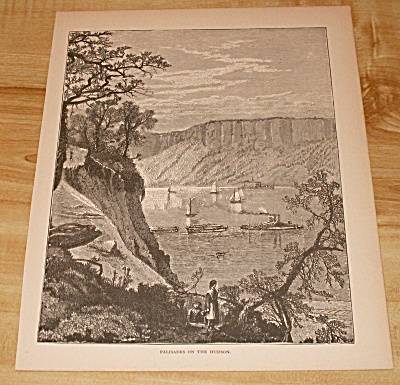 Antique 1885 Book Print, New York, Palisades on the Hudson River (Image1)