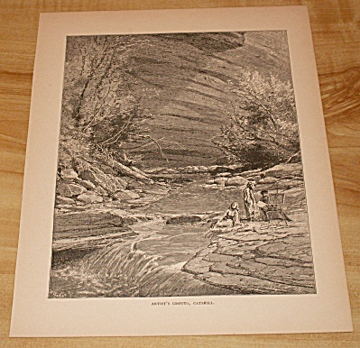 1885 Book Print, New York, Artist Grotto, Catskill Mtns., Palenville