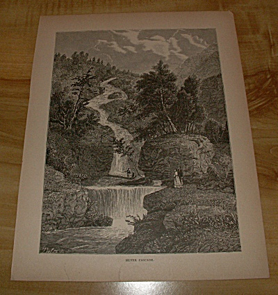 1885 Book Print Nh Crawford Notch Silver Cascade Waterfall White Mtns