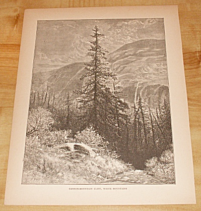 Antique 1885 Book Print, Cannon Mountain Cliff, White Mtns. Nh