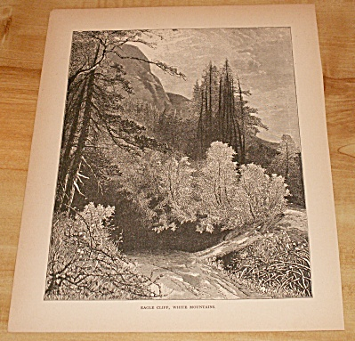 Antique 1885 Book Print, Eagle Cliff White Mountains, New Hampshire