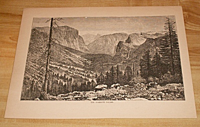 Antique 1885 Book Print Yosemite Valley, National Park California