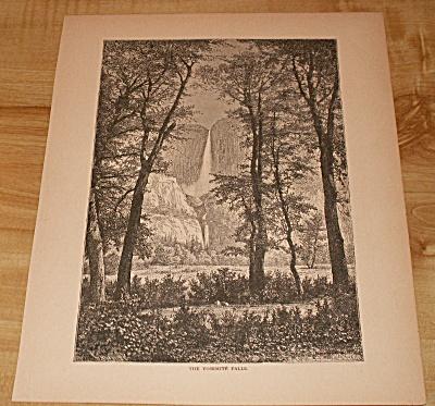 1885 Book Print, Yosemite Falls, Yosemite National Park CA, Print A (Image1)