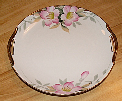 Vintage Noritake Azalea China Two Handle Cake Plate, M Red Mark, 19322