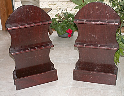 Pair Mahogany Wood 12 Spoon Racks Holders With Tray/box