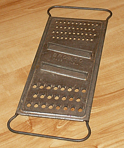 Vintage Kitchen Grater, Bromco Shredder, Metal With Double Hole Sizes
