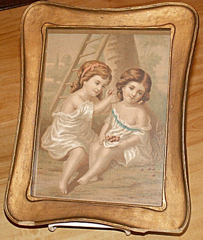 1800s Bufford's Oil Chromo Boston Framed Print Lithograph, Young Girls