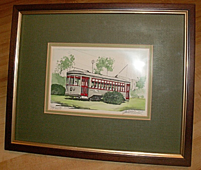 Signed Numbered Andrew Paul Framed Print, New Orleans Street Car