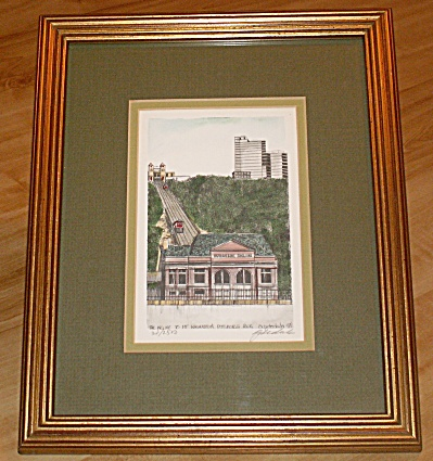 Signed Numbered Andrew Paul Framed Print, Mt. Washington Incline, Pa