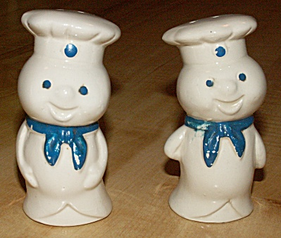 Pair Pillsbury Doughboy Salt & Pepper Shakers, Made In Japan W/labels