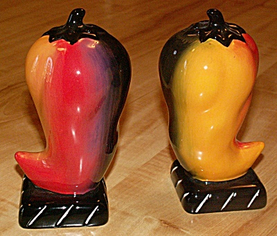 Large Chili Pepper Shaped Salt & Pepper Shaker Set Made By Clay Art