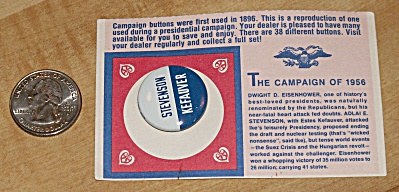 Reproduction 1956 Stevenson Presidential Election Campaign Pin  (Image1)
