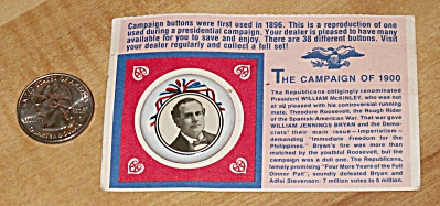 Reproduction 1900 Bryan Presidential Election Campaign Pin