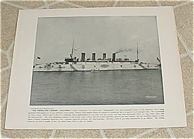 1898 Naval Ship Antique Print, Uss Columbia, Uss Columbia's Big Gun