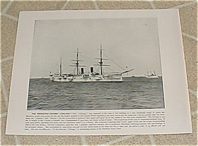 1898 Naval Ship Antique Print, USS Chicago, USS Montgomery, U.S. Navy (Image1)