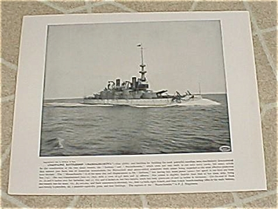 1898 Naval Ship Print, Uss Massachusetts, Uss Raleigh, Us. Navy